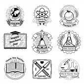 Teachers day emblems set School and education logos