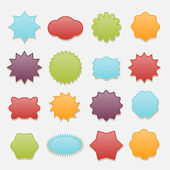 Sticky badges stars and clouds tags vector set Label icon badge blank round and cloud star and circle illustration