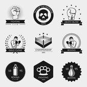 Fighting and boxing black logo set