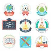 Color retro teachers day logos set