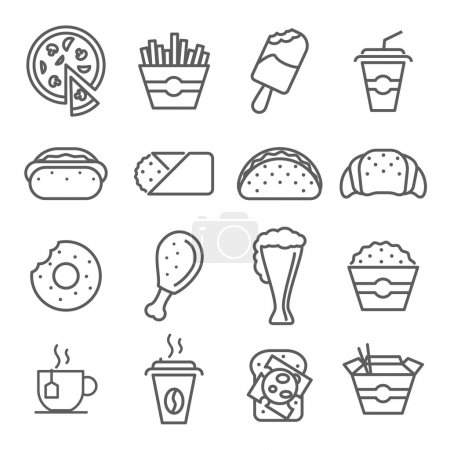 Fast food art line icons