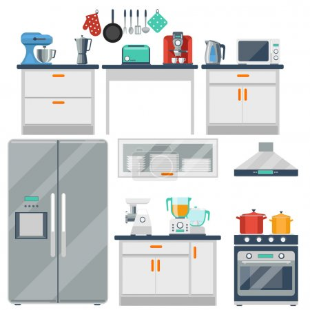 Flat vector kitchen with cooking tools, equipment ...