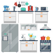 Flat vector kitchen with cooking tools equipment and furniture Refrigerator and microwave toaster and cooker blender and grinder illustration