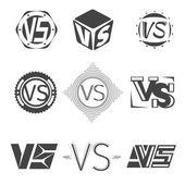 Versus letters logos Competition icons vector set VS monochrome symbol letter illustration