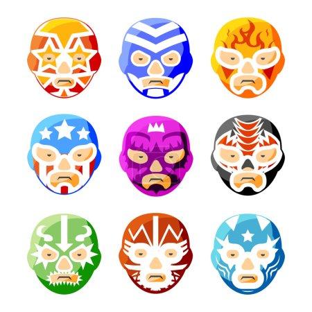 Lucha libre, luchador mexican wrestling masks color vector icons
