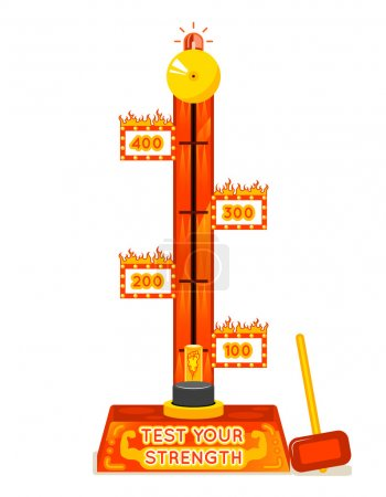 Strength tester. Test your strength amusement game. Vector illustration