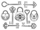 Hand drawn vintage key and lock vector set Padlock and keyhole  antique collection security and safety illustration