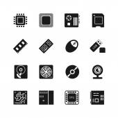 Computer chips vector icons set Cooler and cpu webcam and mouse flash drive and motherboard illustration
