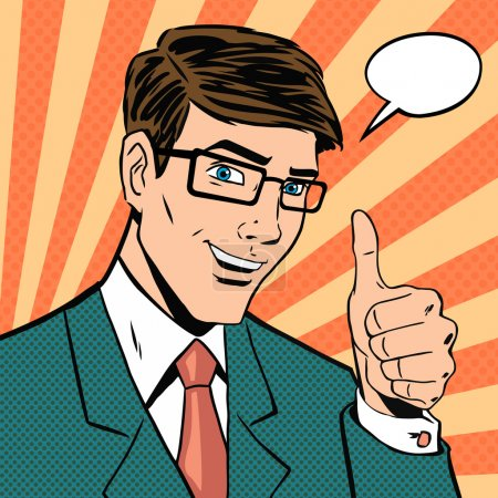 Illustration for Successful businessman gives thumb up in vintage pop art comics style. Likes and positive feel. Gesture good, hand and glasses, agree and smile, finger agreement, vector illustration - Royalty Free Image