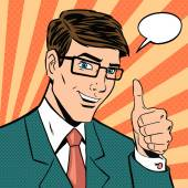 Successful businessman gives thumb up in vintage pop art comics style Likes and positive feel Gesture good hand and glasses agree and smile finger agreement vector illustration