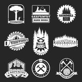 Retro woodwork and carpentry vector logo set in letterpress style