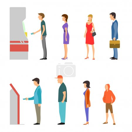 Illustration for Banking payment vector flat infographic. Line of men and women at ATM and terminal. Bank financial cash, withdrawal money salary illustration - Royalty Free Image