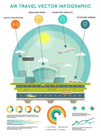 vecteur Voyage aérien modèle infographique avec l'aéroport et les avions
