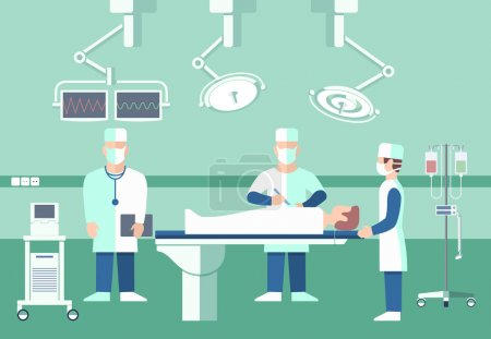 Surgeons in operation theater. Vector medical concept