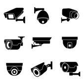 Bezpečnostní kamery, Cctv vektorové ikony nastavit