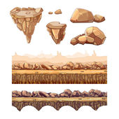 Seamless cartoon stones and bridge for game design Vector elements in separate layers Ui art interface nature landscape road and level illustration
