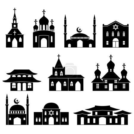 Church building black icons set