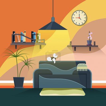 Illustration for Interior of modern living room in flat design style. Furniture and couch, sofa in home illustration - Royalty Free Image