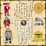 Постер, плакат: Maze with pirates Vector game for kids