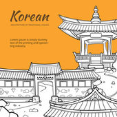 Background with Korean architecture of traditional houses Vector illustration in hand drawn style