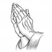 Praying hands Religion and holy catholic or christian spirituality belief and hope Vector illustration