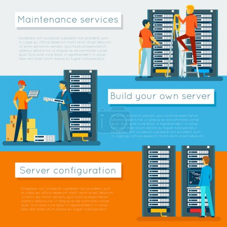 Data center and hosting vector banners set