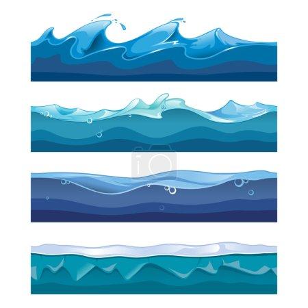 Illustration pour Océan sans couture, mer, vagues d'eau milieux vectoriels fixés pour ui jeu dans le style de conception de dessin animé. Interface nature courbe graphique illustration de flux de tempête - image libre de droit