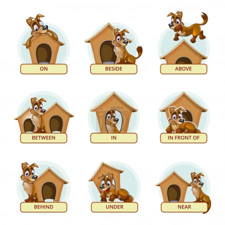 Cartoon dog in different poses to illustrate English prepositions of place. Vector illustration for preschool kids