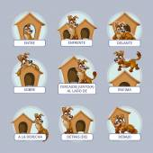 Cartoon dog in different poses to illustrate Spanish prepositions of place Vector illustration for preschool kids
