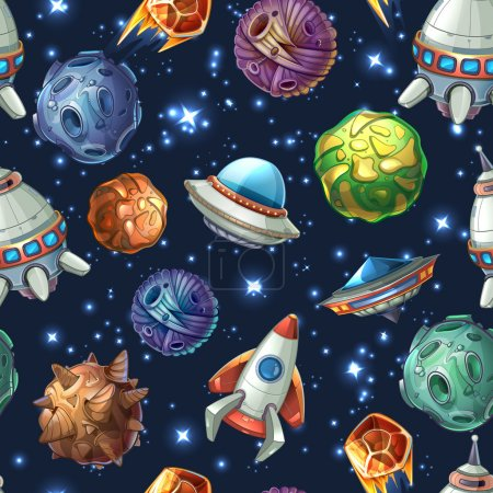 Illustration for Comic space with planets and spaceships. Rocket cartoon, star and science design. Vector seamless pattern - Royalty Free Image