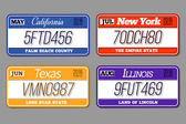 License car number plates vector set California New York Texas Illinois