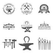 Vintage blacksmith and metalworks logos emblems labels black vector set