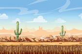 """Постер, картина, фотообои """"Дикий Запад пейзаж пустыни мультфильм бесшовные фон для игры"""""""