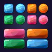 Vector cartoon glass buttons for game user interface UI Design glossy round shiny element illustration