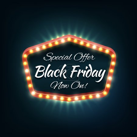 Illustration for Black friday light frame, retro billboard. Sale and discount, business banner, vector illustration - Royalty Free Image