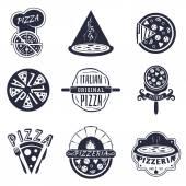 Vintage pizzeria labels logos and emblems vector set