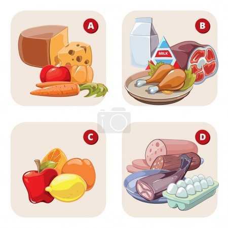 Healthy products containing vitamins. Vector infographic