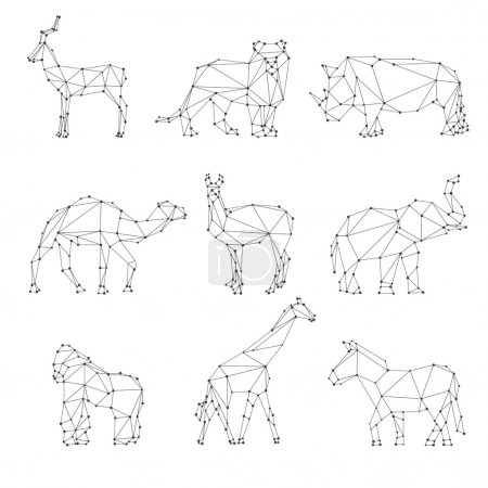 Geometric animals silhouettes