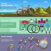 Extreme mountain biking bike store bicycle touring vector banners set