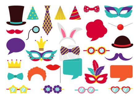Illustration for Party Birthday photo booth props. Hat and mask, costume and cylinder, bunny ears nose moustache. Vector illustration collection - Royalty Free Image