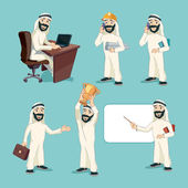 Arab businessman in different actions. Vector cartoon characters set