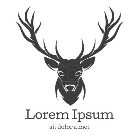 Illustration pour Emblème de tête de cerf. Animaux avec corne, faune naturelle, rennes mammifères, illustration vectorielle - image libre de droit