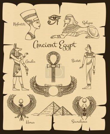 Ancient Egypt symbols. Sphinx and nefertiti, horus...