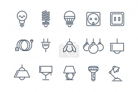 Illustration for Lamp and bulbs line icons set. Electrical symbols, energy electric lightbulb, fluorescent or halogen vector illustration - Royalty Free Image