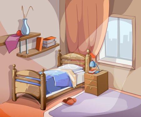 Illustration pour Intérieur de chambre à coucher dans le modèle de dessin animé. Appartement intérieur de lit de conception de meubles. Illustration de vecteur - image libre de droit
