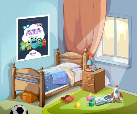 Illustration for Childrens bedroom interior in cartoon style with football ball and toys. Vector illustration - Royalty Free Image