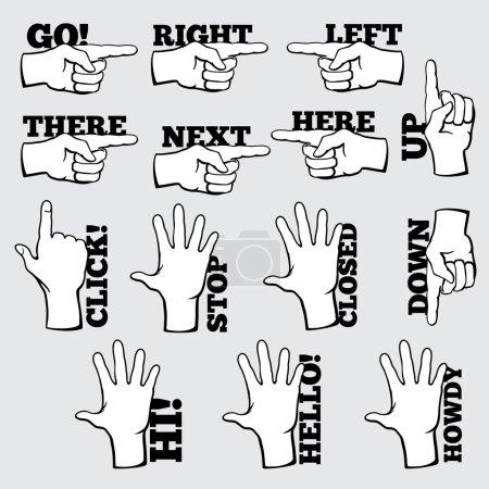 Illustration pour Jeu de symboles de navigation manuelle. Pointeur de geste, clic et bonjour, direction vers le haut, icône du curseur, illustration vectorielle - image libre de droit