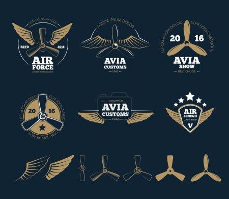 Aircraft design vector elements and logos