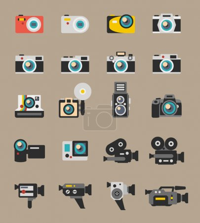 Photo and video camera flat vector icons