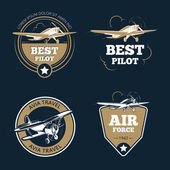 Aircraft and transportation labels Air tourism vector emblems